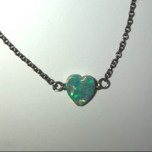 Opal Green Heart